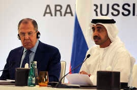 Russian Foreign Minister Sergey Lavrov, left, and Emirati Foreign Minister Sheikh Abdullah bin Zayed Al Nahyan speak during a press conference in Abu Dhabi, United Arab Emirates, Feb. 1, 2017.