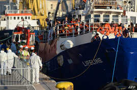 """The """"MV Lifeline"""", a vessel for the German charity Mission Lifeline, arrives with 234 migrants onboard in the harbour of Valletta, Malta, June 27, 2018."""