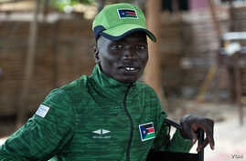 South Sudanese 1500 meter runner Santino Kenyi in Juba before heading off to Rio de Janeiro, Brazil, July 24, 2016, to compete in the 2016 Summer Olympic Games.
