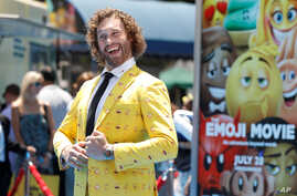 """FILE - Cast member T.J. Miller attends the premiere for """"The Emoji Movie"""" in Los Angeles, California, July 23, 2017."""