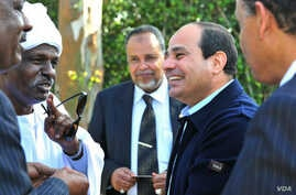 FILE - Former military chief Abdel Fattah el-Sissi  speaking to members of the Nubian community in Cairo.