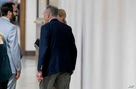 Senate Judiciary Committee Chairman Chuck Grassley, R-Iowa, right, speaks with Garrett Ventry, an adviser to the committee, left, on Capitol Hill, Sept. 19, 2018, in Washington. NBC News has reported that Ventry, who has been assisting in the committ