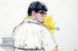 In this courtroom sketch, Enrique Marquez appears in federal court in Riverside, Calif., Monday, Dec. 21, 2015.