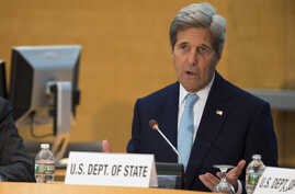 FILE - Secretary of State John Kerry speaks during an event in Washington.