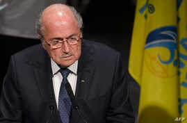 FIFA President Sepp Blatter delivers his speech during the opening ceremony of the 65th FIFA Congress in Zurich, Switzerland, May 28, 2015.