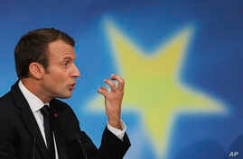 French President Emmanuel Macron delivers a speech on the European Union at the amphitheater of the Sorbonne university in Paris, France, Sept. 26, 2017. Macron is laying out his vision for a more unified Europe despite Brexit looming.