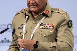FILE - Chief of Pakistani Army staff, Qamar Javed Bajwa, speaks at the Security Conference in Munich, Germany, Feb. 17, 2018.