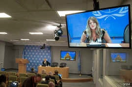 Hilde Johnson, Special Representative of the Secretary-General and Head of the UN Mission in the Republic of South Sudan (UNMISS), holds a video press conference from Juba, South Sudan on Dec. 26, 2013.