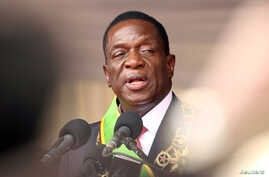 FILE: Emmerson Mnangagwa speaks after being sworn in as Zimbabwe's president in Harare, Zimbabwe, Nov. 24, 2017.