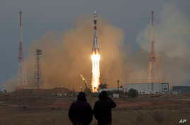 The Soyuz rocket booster with Soyuz MS-02 space ship carrying a new crew to the International Space Station, ISS, blasts off in Russian leased Baikonur cosmodrome, Kazakhstan, on Wednesday, Oct. 19, 2016.