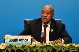 South Africa's President Jacob Zuma delivers a speech ahead of the signing ceremony of BRICS Business Council at 2017 BRICS Summit in Xiamen, Fujian province in China, Sept. 4, 2017.