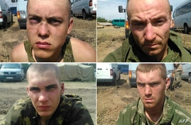 This combination of handout pictures released by Ukrainian security service (SBU) press service purportedly shows Russian paratroopers captured by Ukrainian forces on Monday near the village of Dzerkalne, Donetsk region, some 20 to 30 kilometres from