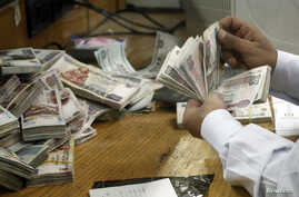 An employee counts money at a bank in Cairo, Egypt, Sept. 4, 2014.