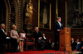 King Willem-Alexander of the Netherlands makes an address to Parliamentarians and other guests at the Palace of Westminster, during a State Visit, in London Britain, Oct. 23, 2018.