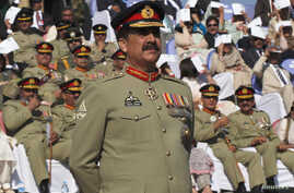 FILE - Pakistan's newly appointed army chief General Raheel Sharif attends the change of command ceremony in with outgoing army chief General Ashfaq Kayani (not in picture) at army headquarters in Rawalpindi, Nov. 29, 2013.