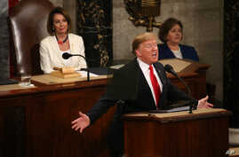 Speaker of the House Nancy Pelosi (D-CA) watches as U.S. President Donald Trump delivers his second State of the Union address to a joint session of the U.S. Congress in the House Chamber of the U.S. Capitol on Capitol Hill in Washington Feb. 5, 2019