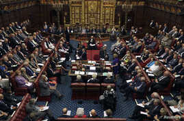 FILE - Britain's House of Lords is seen in session, in London, Sept. 5, 2016.