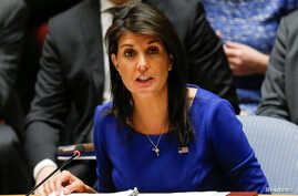 U.S. Ambassador to the United Nations Nikki Haley speaks during an emergency Security Council meeting on Syria at U.N. headquarters in New York, April 14, 2018.