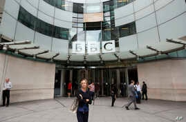 FILE - The main entrance to the  headquarters of the BBC in London, Wednesday, July 19, 2017.