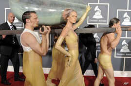 Lady Gaga arrives at the 53rd annual Grammy Awards on Sunday, Feb. 13, 2011, in Los Angeles.