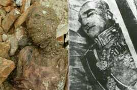 A mummy found during construction at a shrine near Tehran on April 23, 2018, is pictured alongside the remains of Iran's former ruler Reza Shah Pahlavi, who some Iranians say resembles the mummified body. (Photo courtesy of Iranian state news agency)