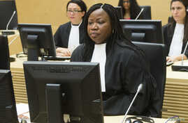 FILE - ICC chief prosecutor Fatou Bensouda looks on during the case against Congolese militia leader Bosco Ntaganda [not shown] at the International Criminal Court in The Hague, February 2014.