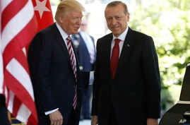 President Donald Trump welcomes Turkish President Recep Tayyip Erdogan to the White House in Washington,  May 16, 2017.