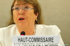 New United Nations High Commissioner for Human Rights Michelle Bachelet attends the Human Rights Council at the United Nations in Geneva, Switzerland, September 10, 2018.