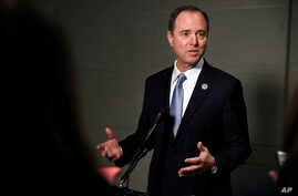 Rep. Adam Schiff, D-Calif., ranking member of the House Intelligence Committee, speaks to the media after attending a closed meeting with testimony by Attorney General Jeff Sessions, Nov. 30, 2017, on Capitol Hill in Washington.