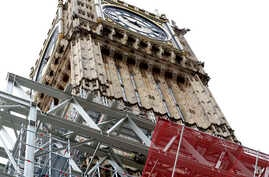 Scaffolding is erected around the Elizabeth Tower, which includes the landmark 'Big Ben' clock, as part of ongoing conservation efforts at the Palace of Westminster in London, Aug. 3, 2017.