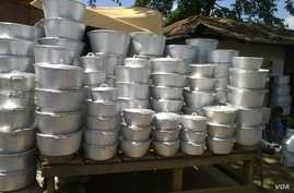 Locally made aluminum pots in Cameroon, and probably in much of Africa, are likely to be contaminated with lead. The metal has been found to leach from the pots in high levels and into food.  Credit: Occupational Knowledge International