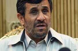 Iranian President Mahmoud Ahmadinejad speaks to the press prior leaving to the United States at Tehran's Mehrabad Airport, 02 May 2010