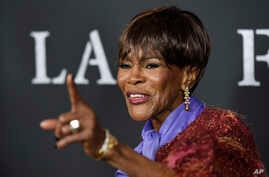 "FILE - Cicely Tyson, a cast member in ""Last Flag Flying,"" poses at the premiere of the film at the Directors Guild of America in Los Angeles, Nov. 1, 2017."