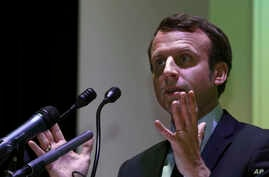 French presidential candidate and former French Economy Minister Emmanuel Macron, speaks during a conference at the Ecole Superieure des Affaires (ESA Business School) in Beirut, Lebanon, Jan. 23, 2017.