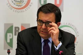 Mexico's Economy Minister Ildefonso Guajardo gestures as he delivers a speech during a meeting with senators in Mexico City, Mexico, Aug. 29, 2017.