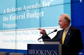 """House Budget Committee Chairman Tom Price, R-Ga., President-elect Donald Trump's choice for health and human services secretary, delivers an address at an event hosted by the Brookings Institution in Washington titled """"A Reform Agenda for the Federal"""