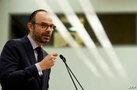 "French Prime Minister Edouard Philippe addresses the opening of the ""Great Gathering of Productive Investment"" at the National Assembly  in Paris on Jan. 22, 2018."