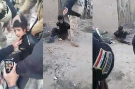 This series of stills from a mobile phone video shows the moments before the alleged execution of a handcuffed Sunni boy in Iraq.  Posts on social media and reports in Arab media claimed the 11-year-old was shot by Shiite militiamen and/or Iraqi forc