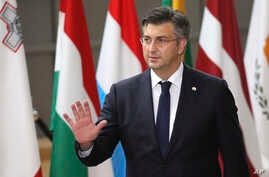 FILE - Croatian Prime Minister Andrej Plenkovic arrives for an EU summit at the Europa building in Brussels, June 22, 2017.