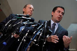 House Select Committee on Intelligence Chairman Rep. Devin Nunes (R-CA) and Ranking Member Rep. Adam Schiff (D-CA) speak with the media about the ongoing Russia investigation on Capitol Hill in Washington, D.C., March 15, 2017.