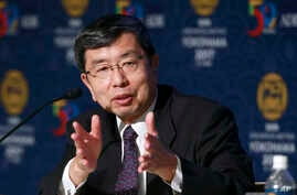 The Asian Development Bank (ADB) President Takehiko Nakao speaks during the opening press conference of the  ADB annual meeting in Yokohama, May 4, 2017. The ADB agreed to team up with a Japanese aid agency to help Asia-Pacific countries better cope