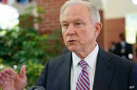U.S. Attorney General Jeff Sessions is interviewed by The Associated Press at the U.S. Embassy in San Salvador, El Salvador, July 27, 2017. Sessions is forging ahead with a tough-on-crime agenda that once endeared him to President Trump, who has sinc
