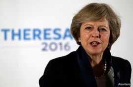 Britain's Home Secretary Theresa May speaks during her Conservative party leadership campaign at the Institute of Engineering and Technology in Birmingham, Britain July 11, 2016. (Reuters)