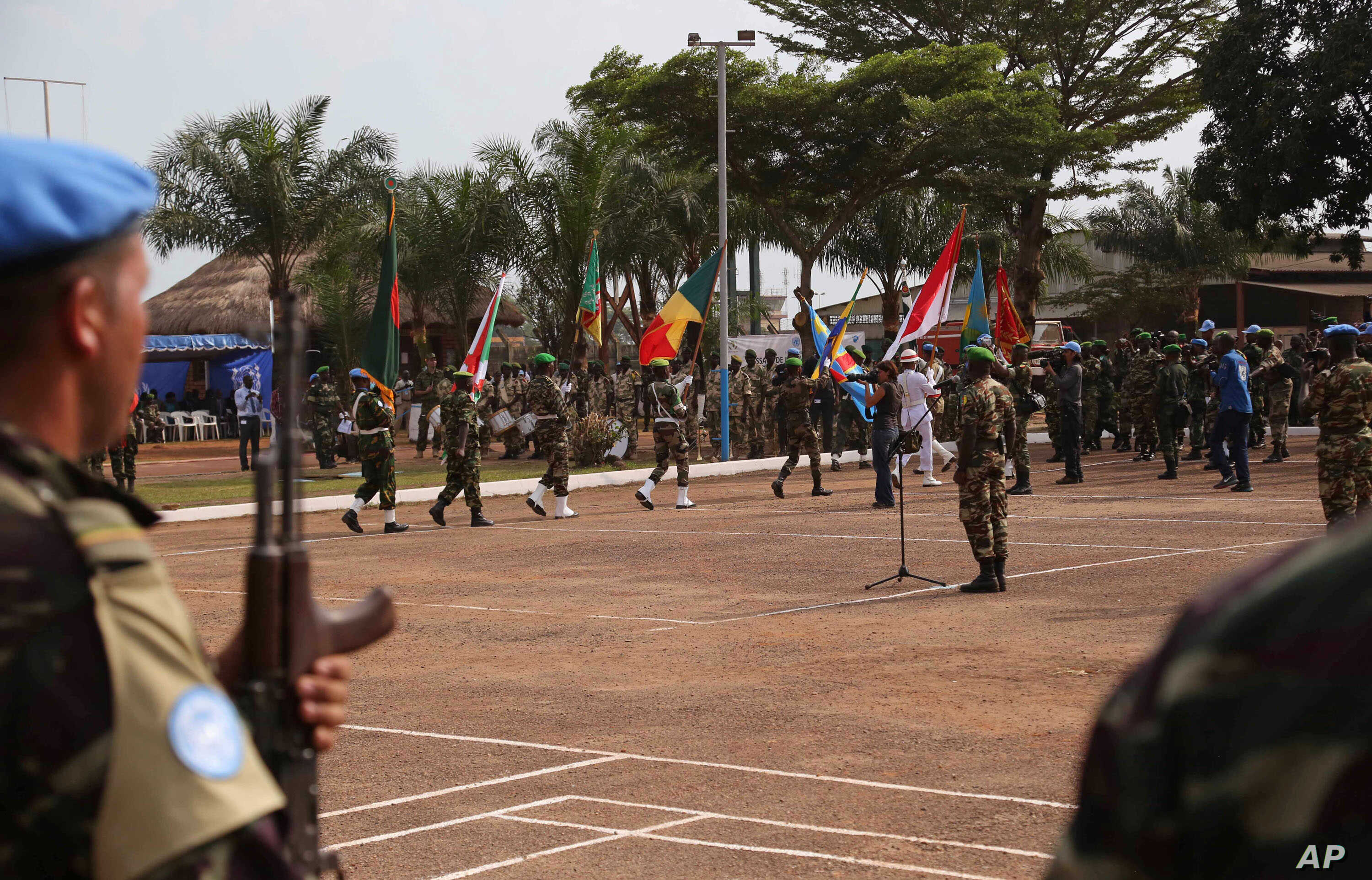 United Nations peace keeping troops take part in a ceremony in the capital city of Bangui, Central African Republic, Sept. 15, 2014.