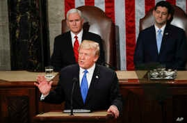 President Donald Trump delivers his State of the Union address to a joint session of Congress on Capitol Hill in Washington, Jan. 30, 2018.