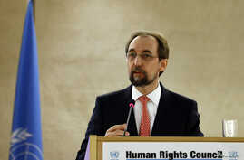 FILE - United Nations High Commissioner for Human Rights Zeid Ra'ad Al Hussein addresses a session of the Human Rights Council at the U.N. European headquarters in Geneva, Switzerland, Feb. 29, 2016.
