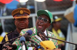 Zimbabwe President and Zanu-PF leader Robert Mugabe addresses party supporters at his last campaign rally in Harare, July, 28, 2013.