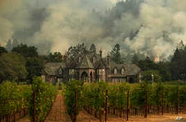 A wildfire burns behind a winery, Oct. 14, 2017, in Santa Rosa, Calif.
