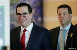 U.S. Treasury Secretary Steven Mnuchin is seen as he and a U.S. delegation member for trade talks with China, leave a hotel in Beijing, China, May 3, 2018.