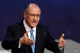 Geraldo Alckmin, former Sao Paulo's governor and Brazil's presidential candidate for the Social Democratic Party, speaks during a presidential debate in Sao Paulo, Brazil, Aug. 9, 2018.
